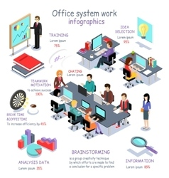 Isometric Office System Work Infographic vector image vector image