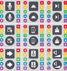 Microphone Tray Media skip Floppy SMS Brush Arrow vector image vector image