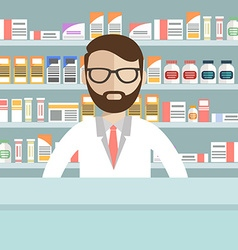Modern flat of a male pharmacist at the counter in vector