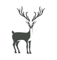 Monochrome silhouette with reindeer of long horns vector