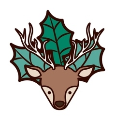 Ornament front face christmas reindeer with leaves vector