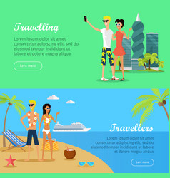 People on vacation conceptual flat banners vector