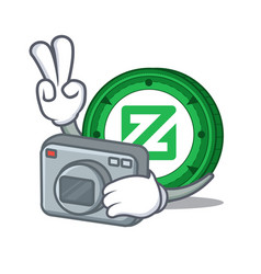 Photographer zcoin mascot cartoon style vector
