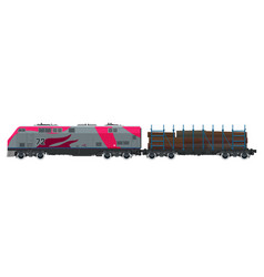 pink locomotive with railway platform vector image