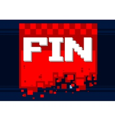 Pixel art fin icon on red background vector