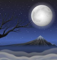 Scene with mountain on fullmoon night vector