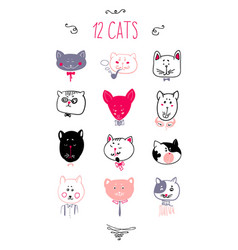 Set of cats heads face vector