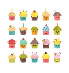 set of cupcakes and muffins kawaii cupcakes set vector image vector image