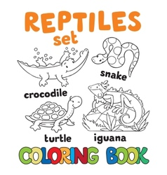Set of funny reptilies coloring book vector