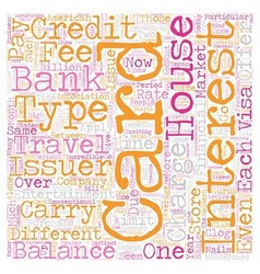 The basic credit card types text background vector