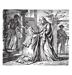 The visitation - mary arrives at elizabeths home vector