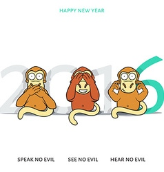 Three wise monkeys and new years inscription 2016 vector