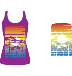 Tshirt artwork sunset trees vector