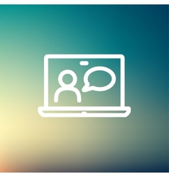 Video chat online thin line icon vector