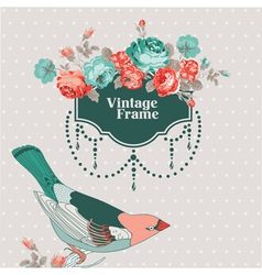 Vintage Card - with Retro Frame Bird and Flowers vector image vector image
