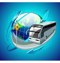 bus moving around the globe vector image