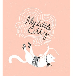 Stylish card with cute white cat and stylish vector