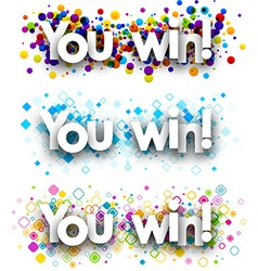 You win colour banners vector