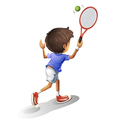 A kid playing tennis vector