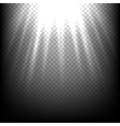 Light rays on black sunbeam scene transparent vector