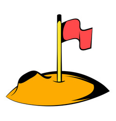 flag on the moon icon icon cartoon vector image