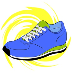 Blue running shoes on a yellow abstract background vector