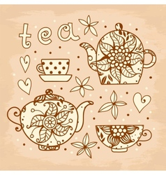 Vintage card tea set of elements for design vector