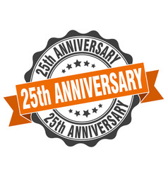 25th anniversary stamp sign seal vector