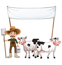 A farmer and his cows near the empty banner vector image