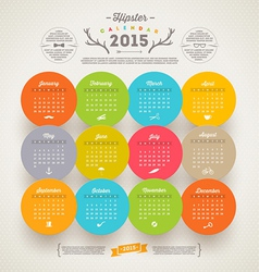 Calendar 2015 with hipster symbols vector image
