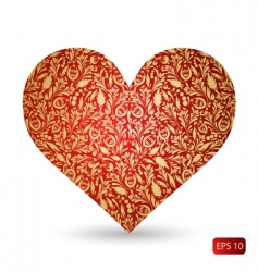 Red heart with golden pattern vector