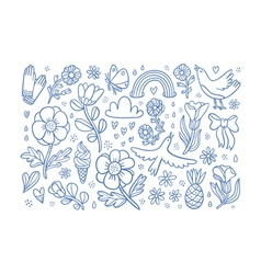 Summertime flowers and birds composition vector
