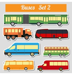 Public transportation buses icon set vector