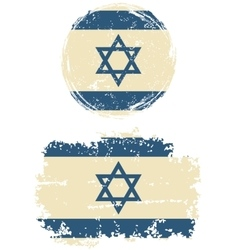 Israeli round and square grunge flags vector