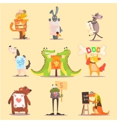 Cute animals cartoon flat design vector