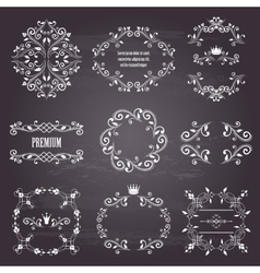 Set of white retro styled ornamental frames vector