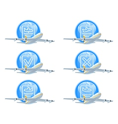 Flight status icon set vector
