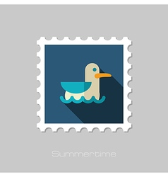 Seagull flat stamp summer vacation vector