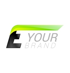 E letter black and green logo design fast speed vector
