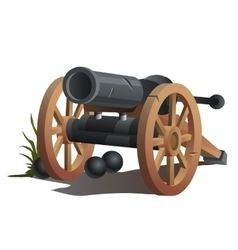 Cannon on wooden wheels and black cannonballs vector