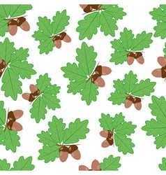 Acorns with oak leaves in summer seamless texture vector
