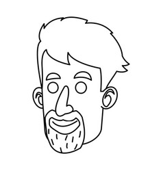 avatar face man beard mustache outline vector image