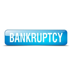 Bankruptcy blue square 3d realistic isolated web vector