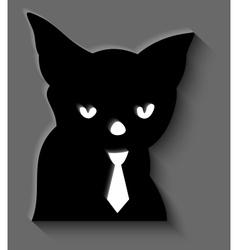 Black cat in a tie vector image
