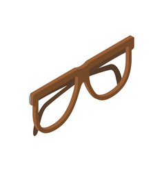 Brown glasses for eyesight isolated vector