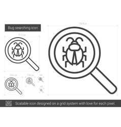 Bug searching line icon vector image