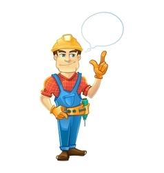 Builder or handyman in helmet pointing top vector