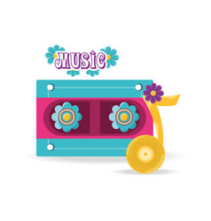 Cassette musical note with flowers peace and love vector