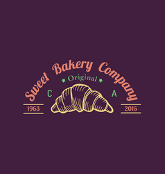 Croissant logo typographic poster of sweet vector