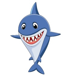 Cute shark cartoon vector image vector image